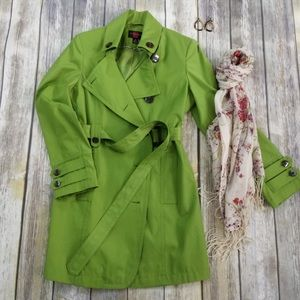Gallery Lime Green Trench Coat Sz Small
